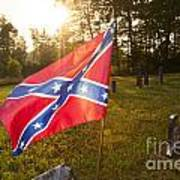 Confederate Flag In An Old Cemetery Poster