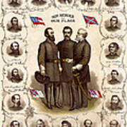 Confederate Generals And Flags Poster