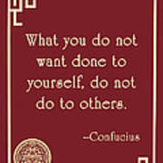 Confucius The Golden Rule Poster