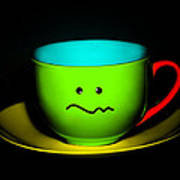 Confused Colorful Cup And Saucer Poster