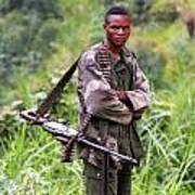 Congolese Soldier Standing Guard Poster
