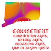 Connecticut State Map Collection 2 Poster