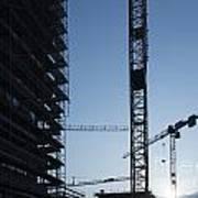 Construction Cranes In Backlit Poster