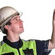 Construction Worker In Safety Jacket Poster