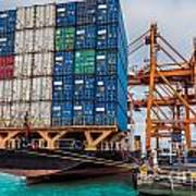 Container Cargo Freight Ship With Working Crane Loading Poster