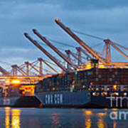 Container Ships Docked In Port Of Oakland Poster