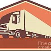 Container Truck And Trailer Flames Retro Poster