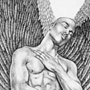 Contemplating Black Male Angel  Poster
