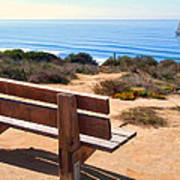 Contemplation Bench At The Oceans Edge Poster