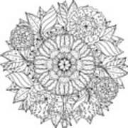 Contoured Mandala Shape Flowers For Poster