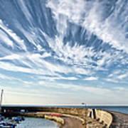 Contrails At Lyme Regis Harbour  Poster