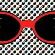 Cool Retro Red Sunglasses Poster