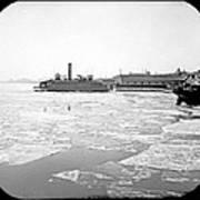Cooper's Point Barge Hudson River C 1900 Poster