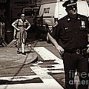Cop And Girl - Mirror Image - New York City Street Scene Poster