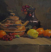 Copper Tea Pot And Fruit Poster
