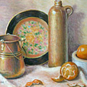 Copper Pot With Tangerines Poster by Theresa Shelton