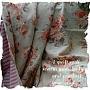 Coral Rose Quilt With Quote Poster