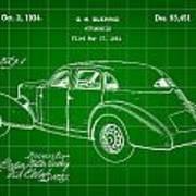 Cord Automobile Patent 1934 - Green Poster