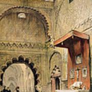 Cordoba Monk Praying At A Christian Poster
