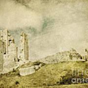 Corfe Castle - Dorset - England - Vintage Effect Poster