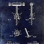 Corkscrew Patent 1897 Blue Poster