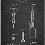 Corkscrew Patent Drawing From 1884 Poster