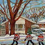 Cormac And Friends Neighborhood Hockey Game Ottawa Suburban City Scene Poster