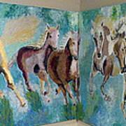Corner Horses Poster by Vicky Tarcau