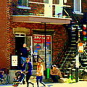 Corner Laurier Marche Maboule Depanneur Summer Stroll With Baby Carriage Montreal Street Scene Poster