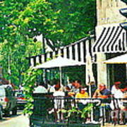 Corner Taverne Terrace French Paris Bistro Painting Sidewalk Cafe Wine Cheese Bar Montreal Cspandau  Poster