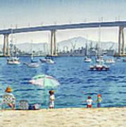 Coronado Beach And Navy Ships Poster