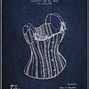 Corset Patent From 1882 - Navy Blue Poster