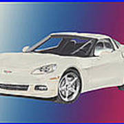 Corvettes In Red White And True Blue Poster