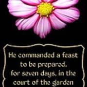 Cosmos Flower With Bible Quote From Esther Poster