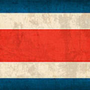 Costa Rica Flag Vintage Distressed Finish Poster