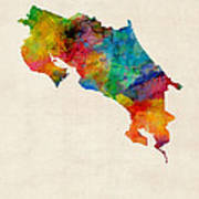 Costa Rica Watercolor Map Poster by Michael Tompsett