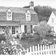 Cottage Pencil Portrait Poster