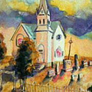 Country Church At Sunset Poster
