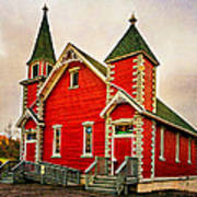 Country Church Paint Poster