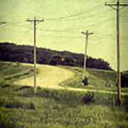 Country Dirt Road And Telephone Poles Poster