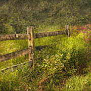 Country - Fence - County Border  Poster by Mike Savad