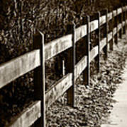 Country Fence Sepia Poster