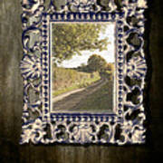 Country Lane Reflected In Mirror Poster by Amanda Elwell