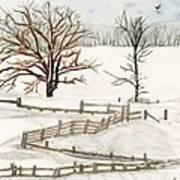 Country Snow Scene Ozaukee County Wisconsin Poster