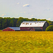 Countryside Landscape With Red Barns Poster