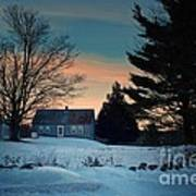 Countryside Winter Evening Poster