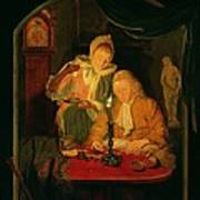 Couple Counting Money By Candlelight, 1779 Panel Poster