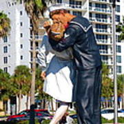 Couple Looking Up To The Famous Wwll Kiss Statue In Sarasota. Poster
