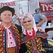 Couples In Polish National Costumes Poster