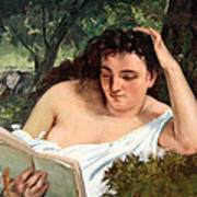 Courbet's A Young Woman Reading Poster